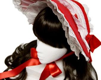 Sweet Red and White Cottage Bonnet - Made to Order