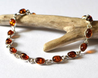 Cognac Baltic Amber bracelet, amber bracelet, sterling silver bracelet with natural Baltic amber