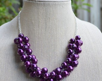 Purple Pearl Cluster Necklace
