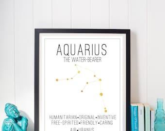Aquarius Constellation Zodiac Traits Gold Foil Print
