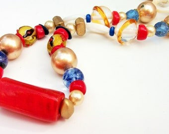 Red Blue Gold Bead Necklace, Repurposed Beaded Necklace, Recycled Jewelry, Upcycled Statement Necklace, Chunky Short Beads, Summer Jewelry