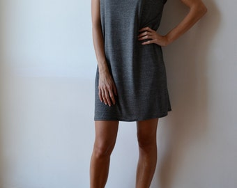 Grey melange t shirt dress / grey t shirt dress / grey tunic dress / jersey tunic dress