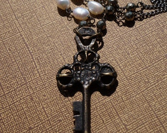 Skeleton Key Necklace, Wired Pearl & Pyrite, Vintage, Pearl and Key Necklace, Antique