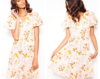 REDUCED was 75 now 50 adorable VINTAGE 70s pastels floral print butterfly flutter sleeve crochet lace trim sundress