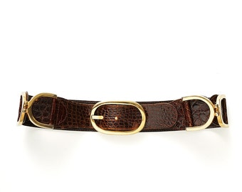 Final REDUCTION was 285 now 175 incredible vintage 60s/70s LEO ISLA French real crocodile mahogany brown gold hardware belt