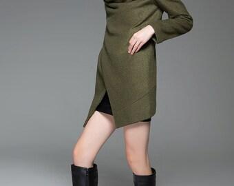 Midi Length Brown Wool Coat Winter Jacket With High Collar C738