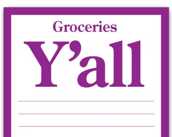 Groceries Y'all Funny Magnetic Notepad 4.25 X 7.50 Inches 50 Sheets, Grocery List Pad