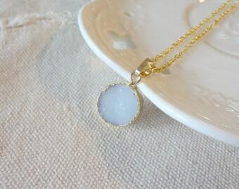 2016 White Druzy Drusy Crystal Golden Pendant Necklace Gemstone Necklace 837