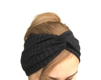 Black turban women headband twist turband stretch head wrap black headband casual everyday stirnband schwarz boho dark fashion