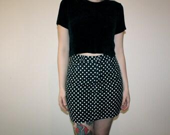 90s Black and White Heart Print High Waisted Mini Skirt