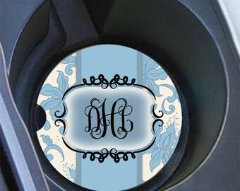 Mothers day gift idea, Monogram car coaster, Pretty car coaster, Light blue floral, Custom car cup coaster blue, Floral car decor (1011)
