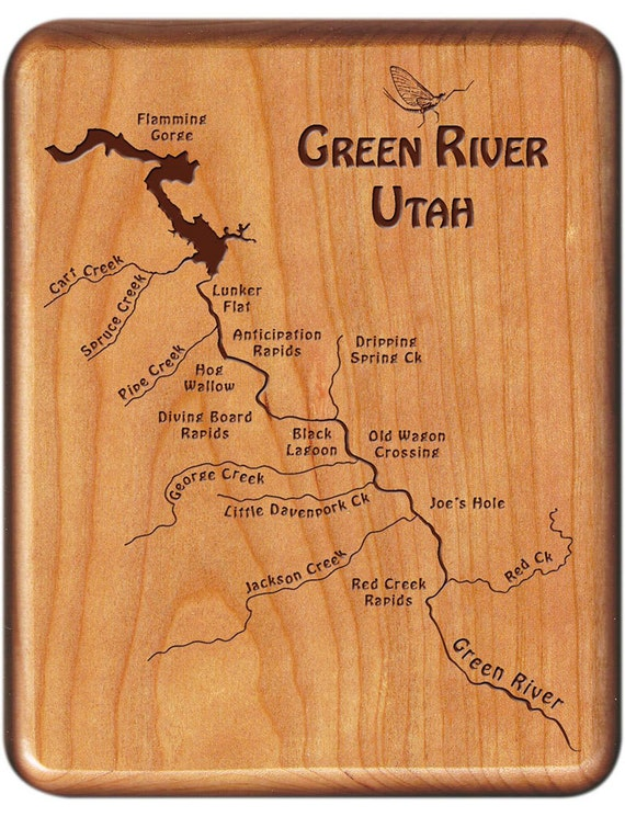 Green river map fly box section a b handcrafted custom for Green river utah fishing