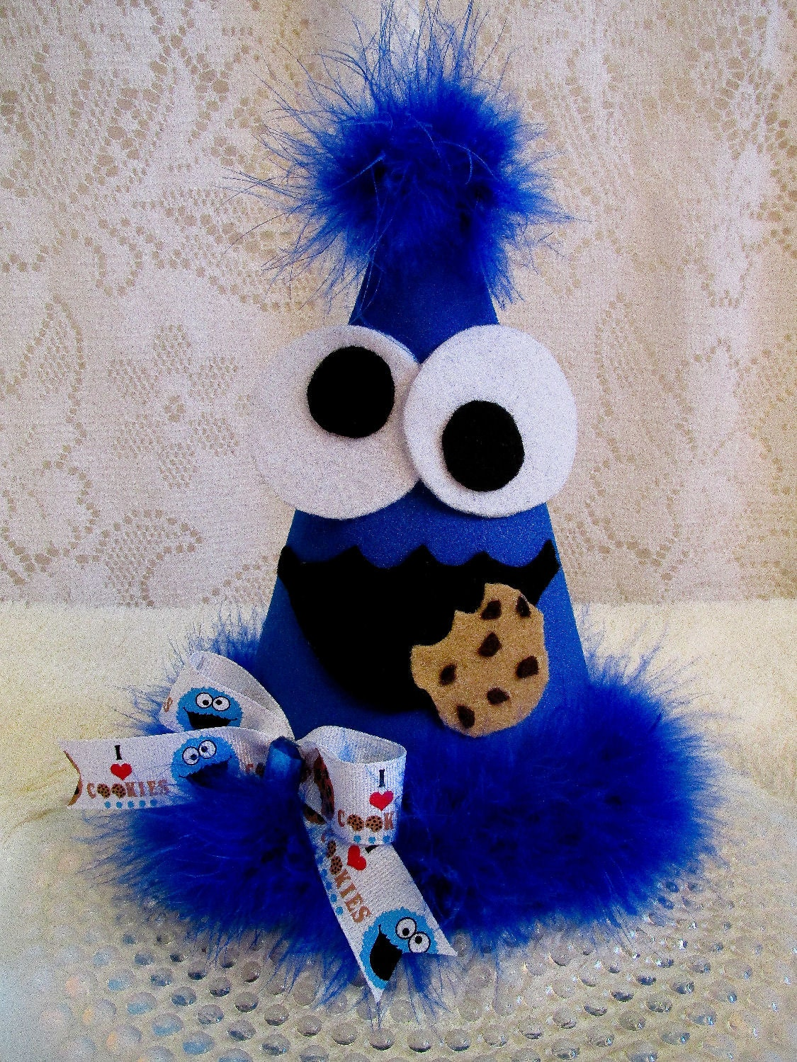 Cookie monster all fabric party hat sesame street party hat for Monster themed fabric
