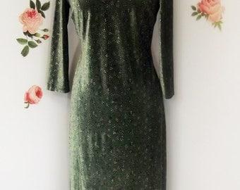 Velvet Dress, Dark Green Velvet, Fitted Dress, Long Sleeve, Size Medium