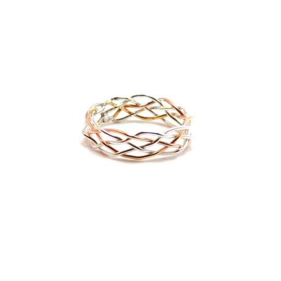 5 Strand Braided Ring - 7 mm Wide - Customizable Silver, Gold, Pink Gold