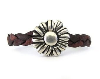 Women's Leather Bracelet with Flower Magnetic Clasp  - Leather Jewelry - Bracelets for Women - Flower Bracelet - Gifts Under 50 - WL0108