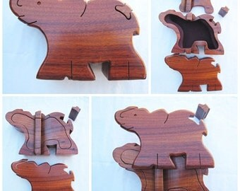 Vintage Elephant Puzzle Box for Jewelry or Trinkets - Wood Decorative Box - Vanity - Hidden Storage - Toy
