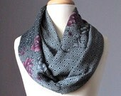 Infinity Scarf  ,  Floral scarf , charcoal Gray,  silky soft  scarf