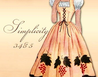 Simplicity 3485 1950s Dress Pattern with Two Style Options Uncut Factory Folded Bust 32