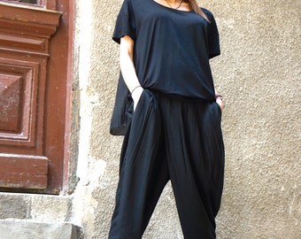 New Loose Black Pants / Wide Leg Pants / Soft Light Viscose Textile Trousers/ Side pockets Asymmetrical Pants by AAKASHA A05548