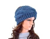 Chunky Knit Cable Ear Warmer Headband Hairband Hair Wrap Ski Headband // The Alpine // in Denim