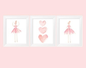 Blush Ballerina, 11x14 Set of 3, Ballerina Print, Ballerina Art, Girls Ballet Decor, Blush Nursery, Ballerina Decor, Ballet Wall Art,