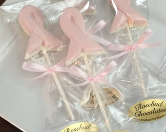 12 Chocolate Breast Cancer Awareness Ribbon Lollipops Think Pink
