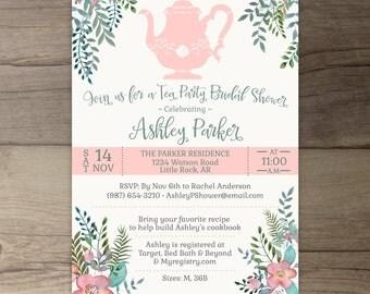 Floral Tea Party Bridal Shower Invitations • DIY Printable