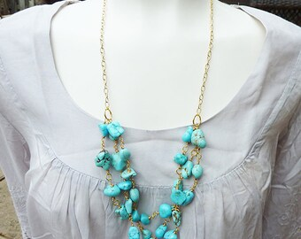 Long Triple Strand Braided Wire Wrapped Turquoise Nuggets Adjustable Necklace
