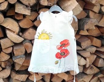 "Flower Girl Dress-white linen girls dress-linen-painted dress-size by height 32""/82-children clothing - lace girl dress - vintage girl dress"