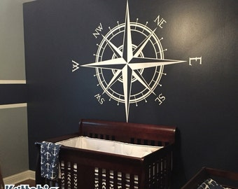 Compass Rose Vinyl Wall (or Ceiling) Decal K514
