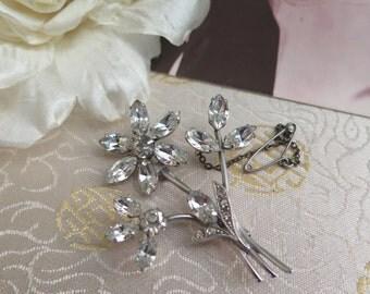 Vintage Rhinestone Brooch - Vintage Brooch - Vintage Flower Brooch - Safety Chain - 1950s Brooch - Crystal Brooch - Gift for Her - 1950s