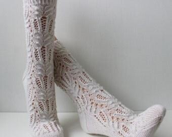 Hand knit wool lace socks, white socks, bed socks