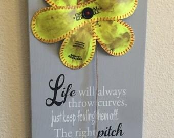 Life Will Always Throw Curves, Baseball/Softball Sign Decor, Inspirational Quote, Baseball Softball Flower Yellow Softball