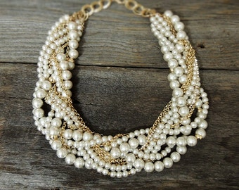 Bridal Statement Necklace - Gold Pearl Crystal Necklace - Pearl Statement Necklace - Pearl Chunky Necklace