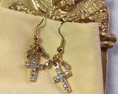 Goldtone CROSS Pierced Earrings Double Sided Crosses With Clear Rhinestones Crystal Accent Beads  Fish Hook Wires Dainty Feminine WishAnWear