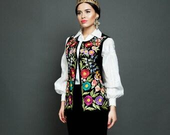 """Embroidered vest """"Black pearl"""" hand made vest hand embroidery black short vest bohemian suede vest ethnic women vest warm short vest"""