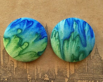 Fabric Button Earrings / Ombre / Wholesale Jewelry / Made in USA / Tie Dye / Unique Gift Ideas / Stud Earrings