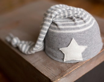 Newborn Hat Upcycled Gray Striped Hat with Star READY TO SHIP Sleepy Time Boys Hat Photography Prop