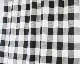 Black and White Buffalo Check Curtains - Rod Pocket - 84 96 108 or 120 Long by 24 or 50 Wide - Optional Blackout Lining