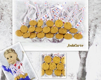 Doll Medals In Star Ribbon - Party Pack