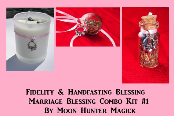 Fidelity & Marriage Blessings Handfasting Ritual Combo Kit #1 Crystal Healing Kit