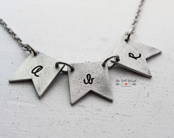 Personalized Bunting Necklace | Mother's Jewelry | Name Jewelry | Flag Necklace | Sterling Jewelry | Personalized Jewelry | Monogrammed