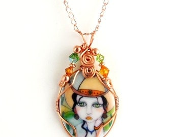 Wire Wrap Copper and Porcelain Cameo Pendant Necklace, Beaded Necklace, Fashion Jewelry, Gifts