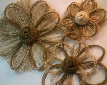 Brown Burlap Sparkle Set of 3 - Chocolate Brown - Gold Burlap - Burlap Flower - Burlap Wedding - Fall Burlap