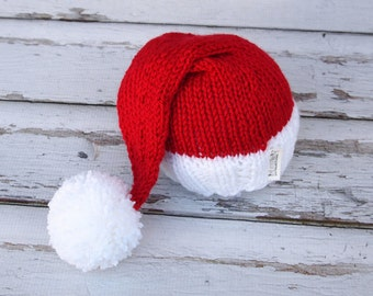 Newborn Baby CHRISTMAS Knitted Little Santa Elf Hat for Photography Props