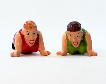 Women Wrestlers Salt and Pepper Shakers - Unique Collectible Salt and Pepper Shakers.