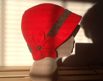 Bright Red Felt Cloche with Gray Contrasts