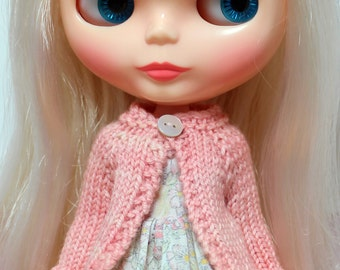 BLYTHE doll hand knit wool cardigan sweater - soft peachy pink