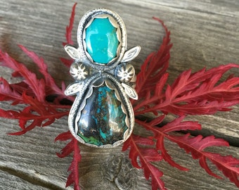 Double Turquoise Ring, Sterling Two Stone Ring, Genuine Turquoise Jewelry, Boho Hippie Jewelry, Leaf Stamped Jewelry, Unique Ring Size 7